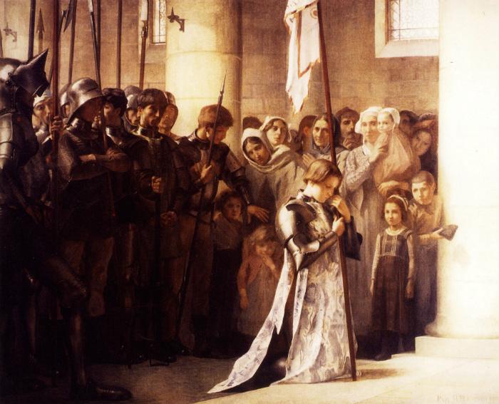 Хотя де Ре не отходил от Женны, художники никогда не изображают его на картинах с Орлеанской девой.